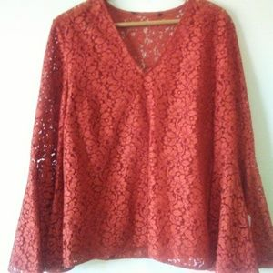 TALBOT LACE BELL Sleeve Top, Large